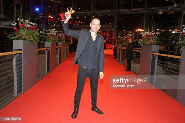 Nadav Lapid winner of the Golden Bear for Best Film for Synonymes poses after the closing ceremony of the 69th Berlinale International Film Festival...