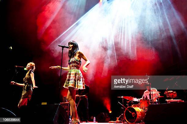 Nadeah Miranda and Helena Noguerra of Nouvelle Vague perform on stage at Royal Albert Hall on November 4 2010 in London England