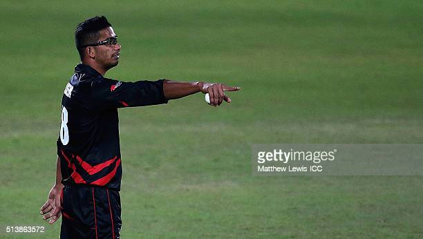 Nadeem Ahmed of Hong Kong in action during the ICC Twenty20 World Cup warmup match between HPCA XI v Hong Kong at the HPCA Stadium on March 5 2016 in...