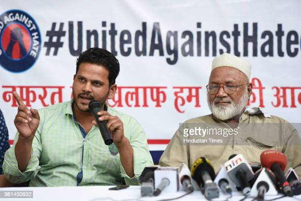 Nadeem brother of mob lynching victim Qasim and Mehruddin brother of another victim Samayuddin speaks to media at Press Club of India on June 22 2018...