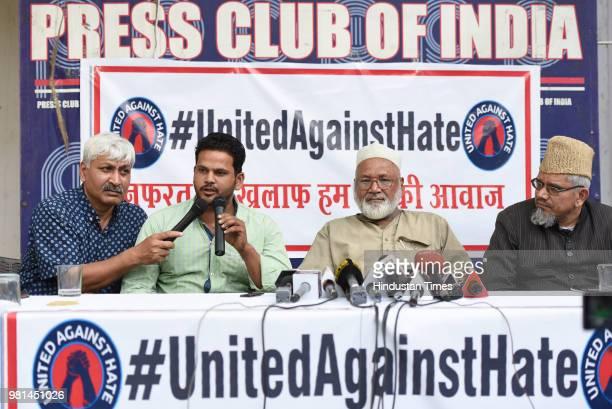 Nadeem, brother of mob lynching victim Qasim and Mehruddin, brother of another victim Samayuddin speaks to media at Press Club of India, on June 22,...