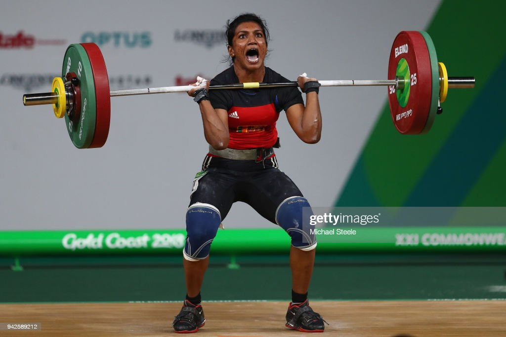 Nadeeshani Rajapaksha of Sri Lanka competes in the clean and jerk during the Women's Weightlifting 58kg on day two of the Gold Coast 2018 Commonwealth Games at Carrara Sports and Leisure Centre on April 6, 2018 on the Gold Coast, Australia.