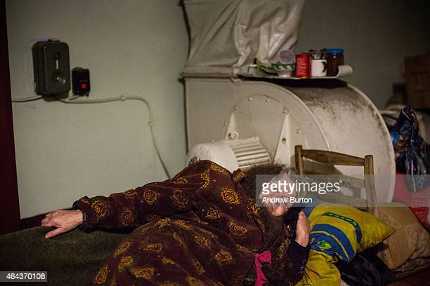 Nadegda Jakoulevna lies on a cot in the basement of an administrative building where people have been living since August due to continued fighting...