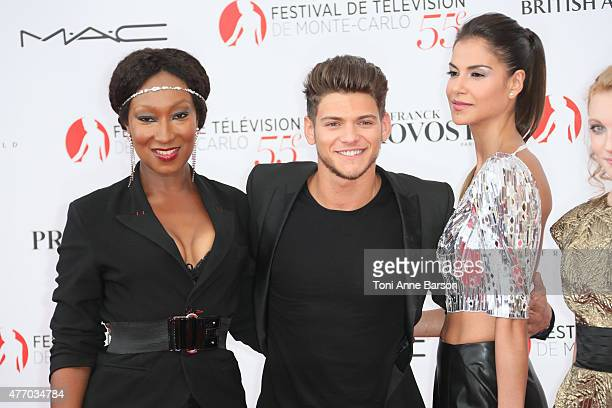 Nadege Beausson-Diagne, Rayane Bensetti and Catalina Denis attend the 55th Monte Carlo TV Festival Opening Ceremony at the Grimaldi Forum on June 13,...