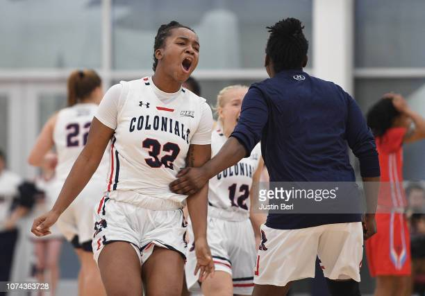 Nadege Pluviose of the Robert Morris Colonials reacts at the conclusion of a 6463 win over the Delaware State Hornets at the North Athletic Complex...