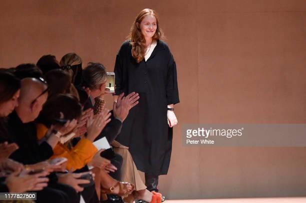 Nadege Vanhee-Cybulski walks the runway at the finale of the Hermes Womenswear Spring/Summer 2020 show as part of Paris Fashion Week on September 28,...