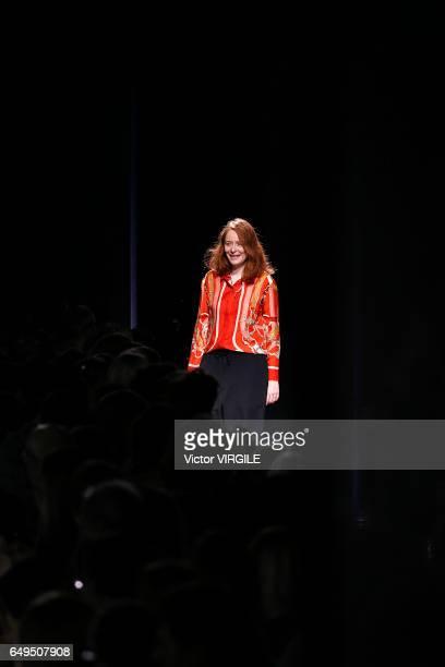 Nadege Vanhee-Cybulski walks the runway during the Hermes Ready to Wear fashion show as part of the Paris Fashion Week Womenswear Fall/Winter...