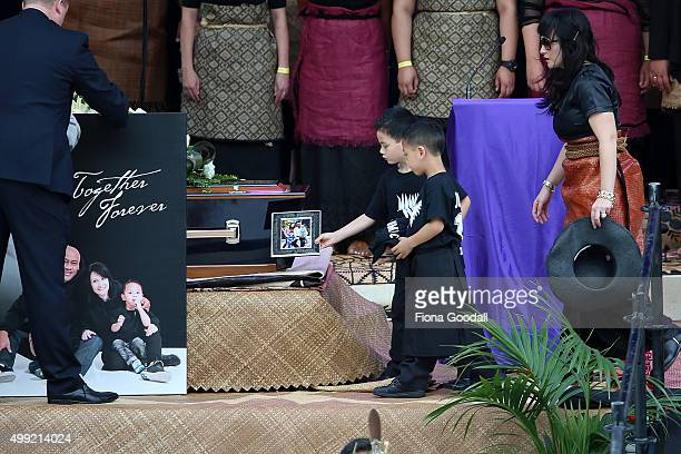 Nadene Lomu and sons Dhyreille and Brayley Lomu as Jonah's casket arrives at the Public Memorial for Jonah Lomu at Eden Park on November 30 2015 in...