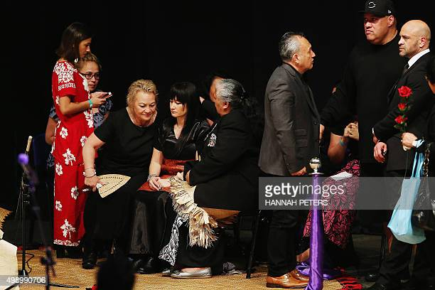 Nadene Quirk the widow of All Black rugby legend Jonah Lomu is comforted by her mother Lois and mother of Jonah Lomu Hepi Lomu during the Aho Faka...