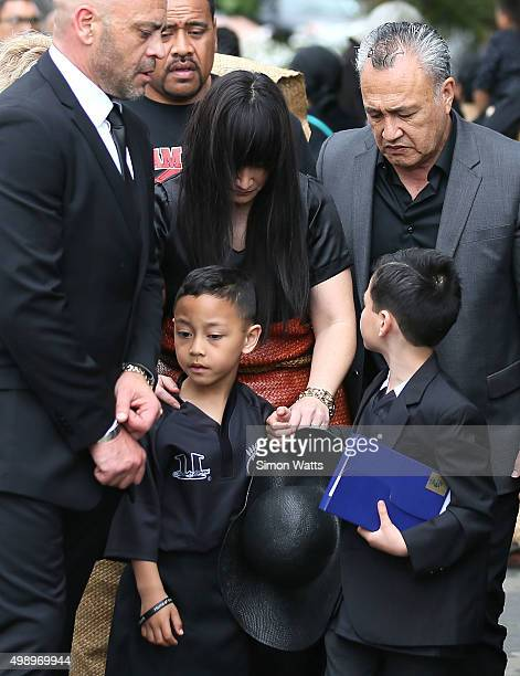 Nadene Quirk the widow of Jonah Lomu and sons Dhyreille Lomu and Brayley Lomu leave after the Aho Faka Famili memorial for Jonah Lomu at Vodafone...