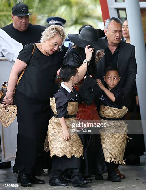 Nadene Quirk the widow of Jonah Lomu arrives with sons Brayley Lomu and Dhyreille Lomu during the Aho Faka Famili memorial at Vodafone Events Centre...