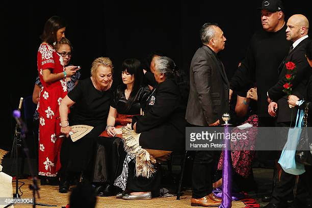 Nadene Quirk the widow of Jonah Lomu is comforted by her mother Lois and mother of Jonah Lomu Hepi Lomu during the Aho Faka Famili memorial at...