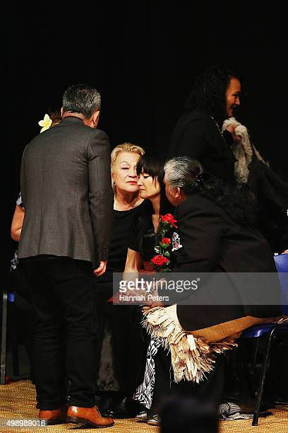Nadene Quirk the widow of Jonah Lomu is comforted by her mother Lois and father Mervyn Kuiek and mother of Jonah Lomu Hepi Lomu during the Aho Faka...