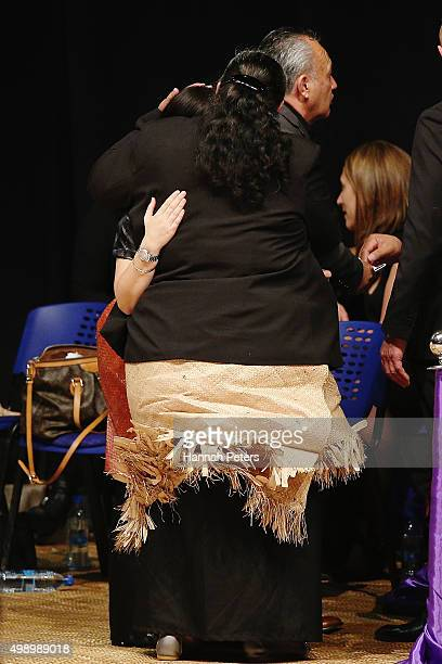 Nadene Quirk the widow of Jonah Lomu is comforted by mother of Jonah Lomu Hepi Lomu during the Aho Faka Famili memorial at Vodafone Events Centre on...