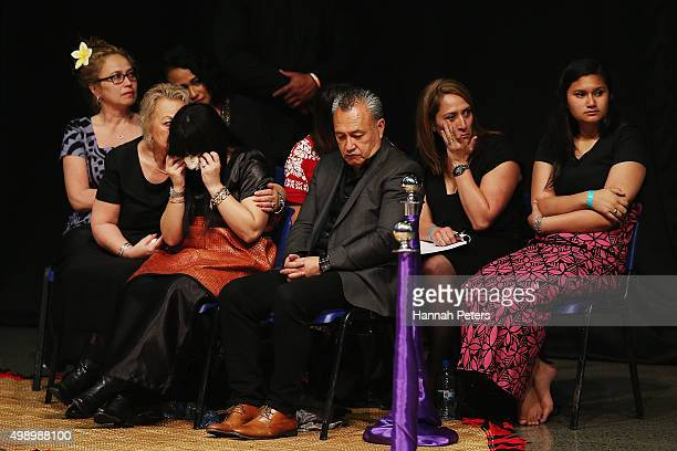 Nadene Quirk the widow of Jonah Lomu sits with her mother Lois and father Mervyn Kuiek during the Aho Faka Famili memorial at Vodafone Events Centre...