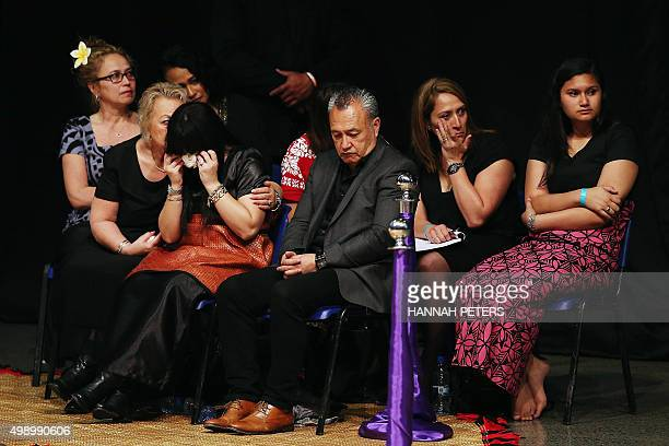 Nadene Quirk the widow of Jonah Lomu sits with her mother Lois and father Mervyn Kuiek during the Aho Faka Famili memorial for All Black and rugby...