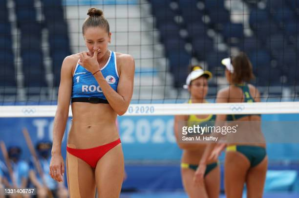 Nadezda Makroguzova of Team ROC reacts as she competes against Team Australia during the Women's Preliminary - Pool E beach volleyball on day seven...