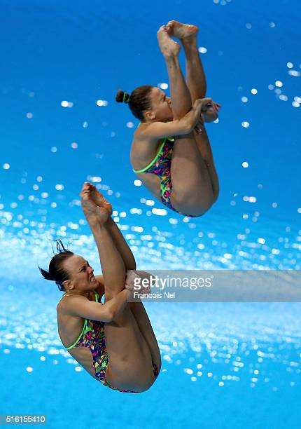 Nadezhda Bazhina and Kristina Ilinykh of Russia dives in the Women's 3m Synchro Springboard Final during day one of the FINA/NVC Diving World Series...