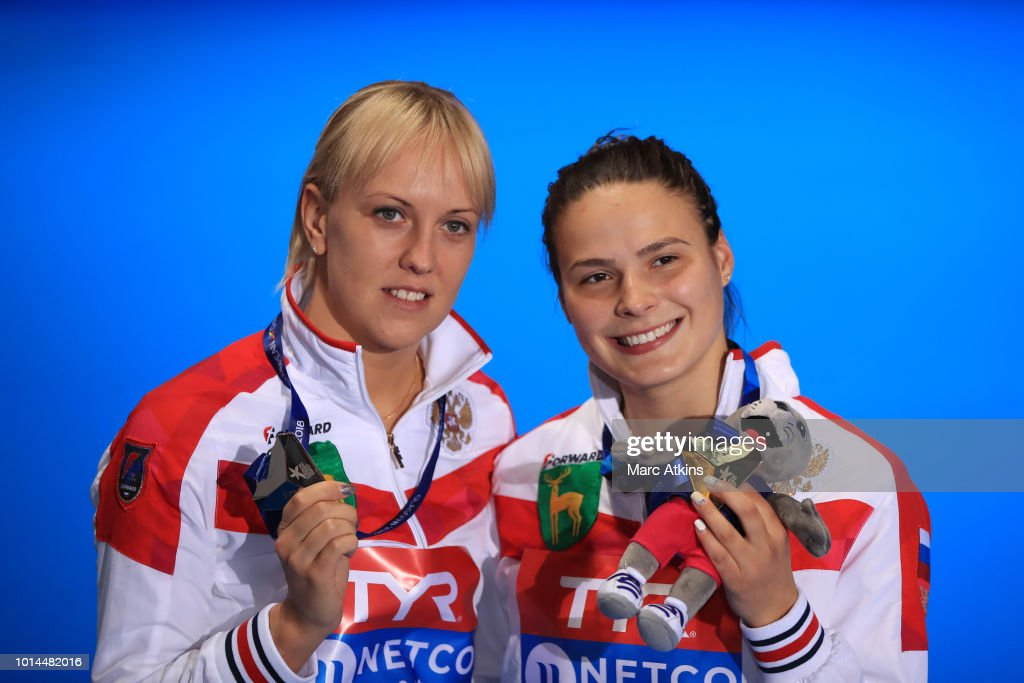 Nadezhda Bazhina of Russia (silver) and Mariia Poliakova of Russia (gold) poses for a picture after receiving their medals for the Women's 1m Springboard Final on Day Nine of the European Championships Glasgow 2018 at Royal Commonwealth Pool on August 10, 2018 in Edinburgh, Scotland. This event forms part of the first multi-sport European Championships.