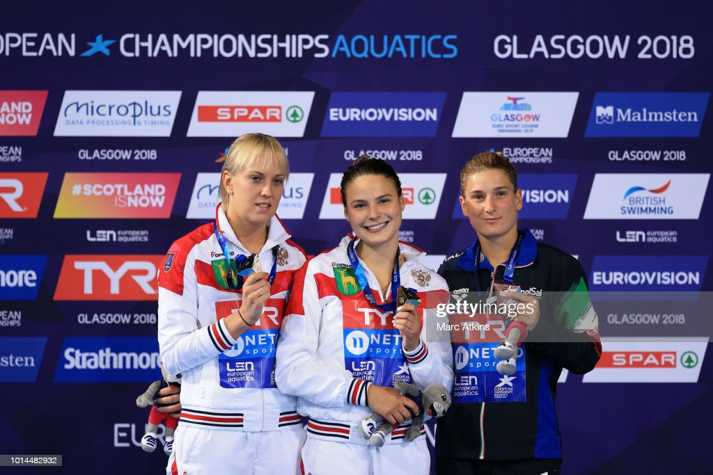 Nadezhda Bazhina of Russia (silver), Mariia Poliakova of Russia (gold) and Elena Bertocchi of Italy (bronze) pose for a picture with their medals after the Women's 1m Springboard Final on Day Nine of the European Championships Glasgow 2018 at Royal Commonwealth Pool on August 10, 2018 in Edinburgh, Scotland. This event forms part of the first multi-sport European Championships.