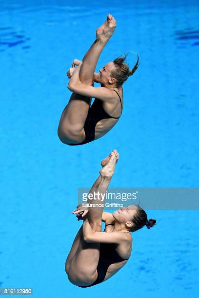 Nadezhda Bazinha and Kristina Ilinykh of Russia compete during the Women's Diving 3M Synchro Springboard preliminary round on day four of the...