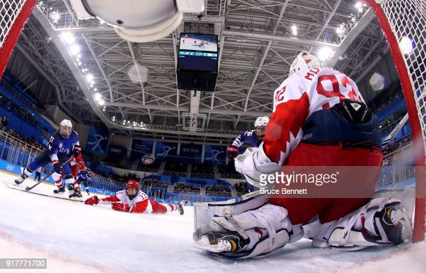 Nadezhda Morozova of Olympic Athlete from Russia makes a save second period against the United States during the Women's Ice Hockey Preliminary Round...