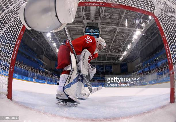 Nadezhda Morozova of Olympic Athlete from Russia reacts after giving up a goal against Riikka Valila of Finland in the second period during the...