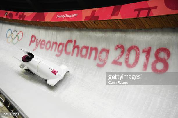 Nadezhda Sergeeva and Anastasia Kocherzhova of Olympic Athlete from Russia slide during the Women's Bobsleigh heats on day twelve of the PyeongChang...