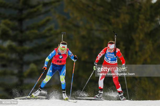 Nadezhda Skardino of Belarus in action during the IBU Biathlon World Cup Women's Individual on January 11 2018 in Ruhpolding Germany