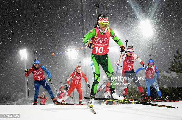Nadezhda Skardino of Belarus leads the group during the Women's 4x6km Relay on day 13 of the PyeongChang 2018 Winter Olympic Games at Alpensia...