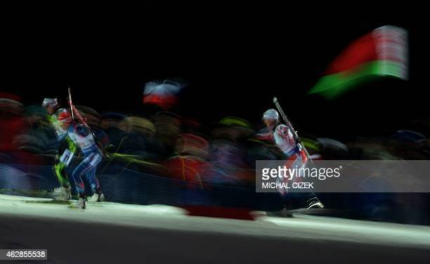 Nadezhda Skardino of Belarus Veronika Vitkova of Czech Republic and Amanda Lightfoot of Great Britain compete during the Mixed 2x6 plus 2x75 Km Relay...