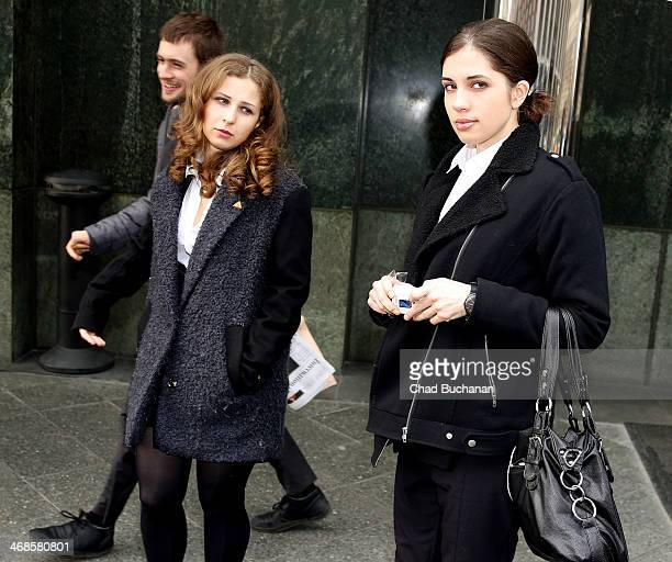 Nadezhda Tolokonnikova and Maria Alyokhina formerly of the band Pussy Riot sighted at the Regent Hotel on February 11 2014 in Berlin Germany