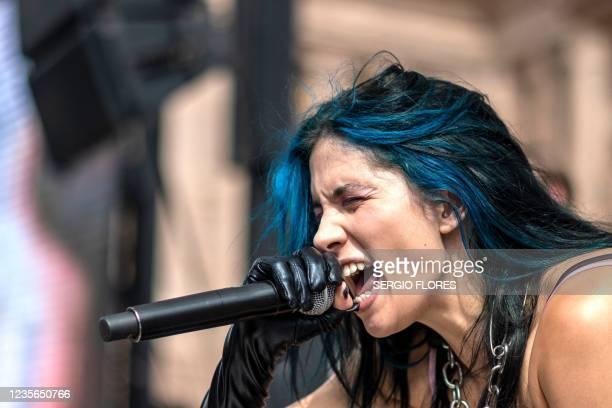 Nadezhda Tolokonnikova, of the group Pussy Riot, performs during the Women's March and Rally for Abortion Justice in Austin, Texas, on October 2,...