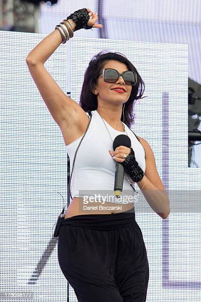 Nadia Ali performs during the 2013 Wavefront Music Festival at Montrose Beach on July 6 2013 in Chicago Illinois