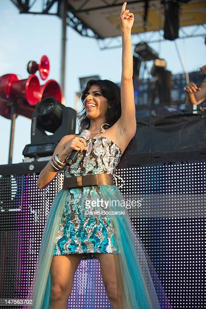 Nadia Ali performs on stage during Wavefront Music Festival at Montrose Beach on July 1 2012 in Chicago Illinois