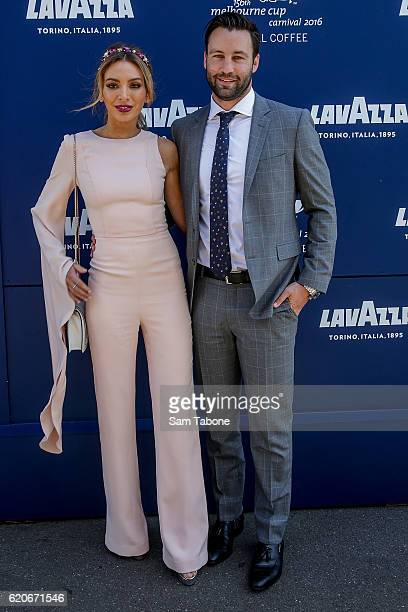 Nadia and Jimmy Bartel arrive at Oaks Day at Flemington Racecourse on November 3, 2016 in Melbourne, Australia.
