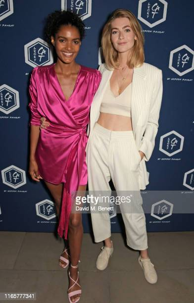 Nadia Araujo and Eve Delf attend the official launch party of Lucky Cat by Gordon Ramsay in Grosvenor Square, Mayfair on September 2, 2019 in London,...