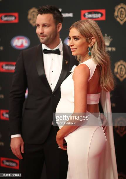 Nadia Bartel and Jimmy Bartel arrive ahead of the 2018 Brownlow Medal at Crown Entertainment Complex on September 24, 2018 in Melbourne, Australia.