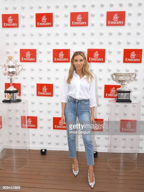 Nadia Bartel arrives ahead of the Emirates ladies brunch on day ten of the 2018 Australian Open at Melbourne Park on January 23 2018 in Melbourne...