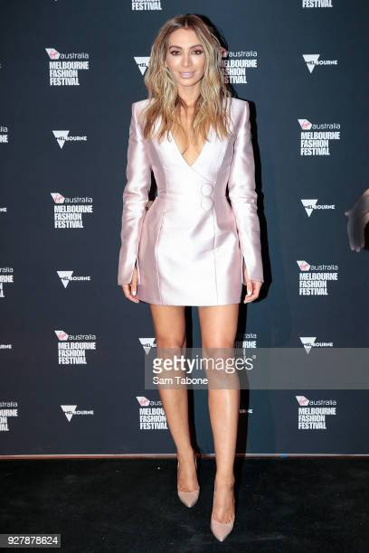 Nadia Bartel arrives ahead of the VAMFF 2018 Runway 1 presented by Vogue on March 6 2018 in Melbourne Australia
