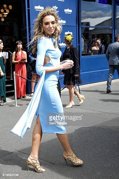Nadia Bartel arrives at Melbourne Cup Day at Flemington Racecourse on November 1 2016 in Melbourne Australia