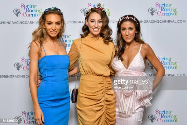 Nadia Bartel Katelyn Mallyon and Lana Wilkinson at the Spring Racing Carnival Launch at Greenfields on September 01 2017 in Albert Park Australia