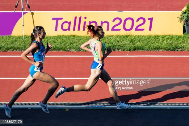 Nadia Battocleti of Italy competes during Women's 5000m Final on day four of the 2021 European Athletics U23 Championships at Kadriorg Stadium on...