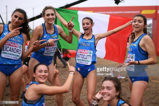 Nadia Battocletti of Italy celebrate after the U2O Women final race of the SPAR European Cross Country Championships at the Parque da Bela Vista on...