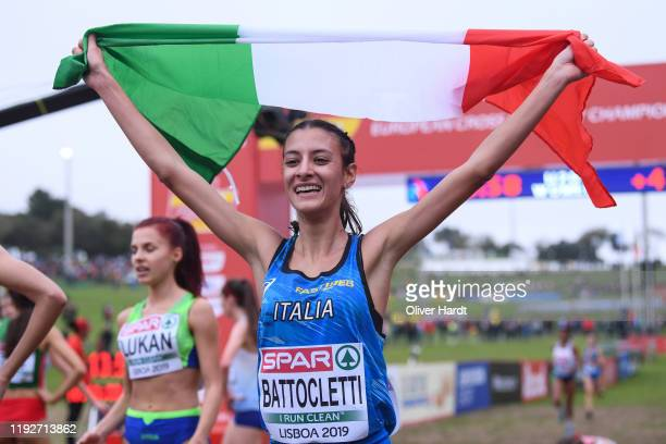 Nadia Battocletti of Italy celebrate during the U2O Women final race of the SPAR European Cross Country Championships at the Parque da Bela Vista on...