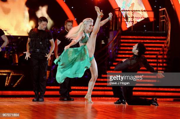 Nadia Bychkova and Davood Ghadami attend the 'Strictly Come Dancing' Live dress rehearsal at Arena Birmingham on January 18 2018 in Birmingham...