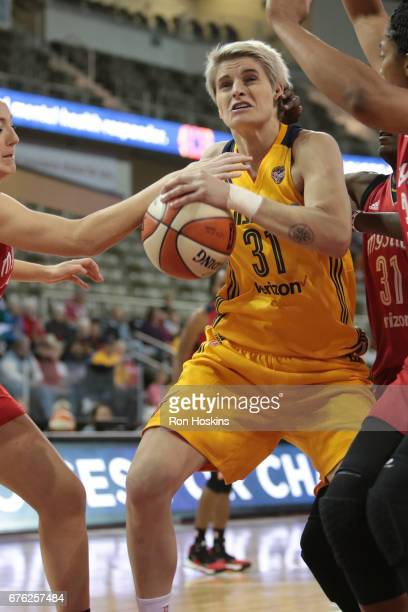 Nadia Colhado of the Indiana Fever handles the ball against the Washington Mystics on May 2 2017 at Indiana Farmers Coliseum in Indianapolis Indiana...