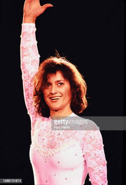 Nadia Comaneci an Olympic athlete performs January 1 1991in Santa Monica Los Angeles California