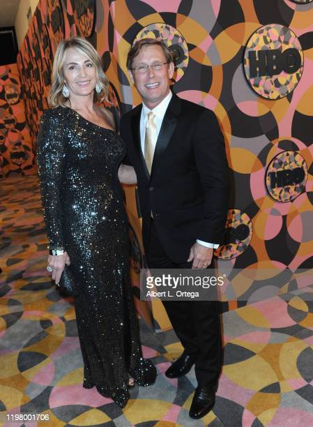 Nadia Comaneci and Bart Conner arrive for the HBO's Official Golden Globes After Party held at Circa 55 Restaurant on January 5 2020 in Los Angeles...