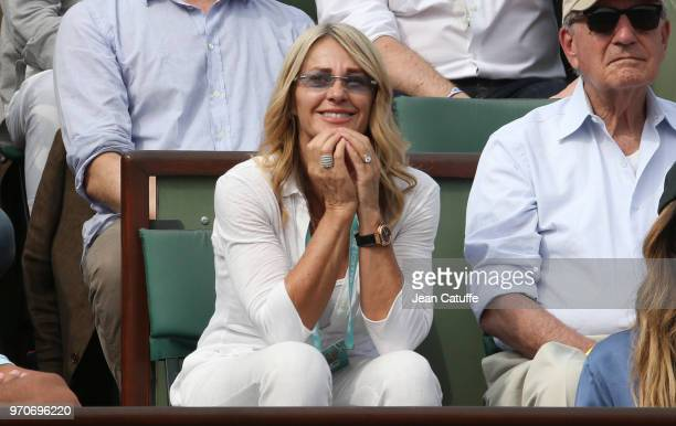 Nadia Comaneci during the women's final on Day 14 of the 2018 French Open at Roland Garros stadium on June 9 2018 in Paris France